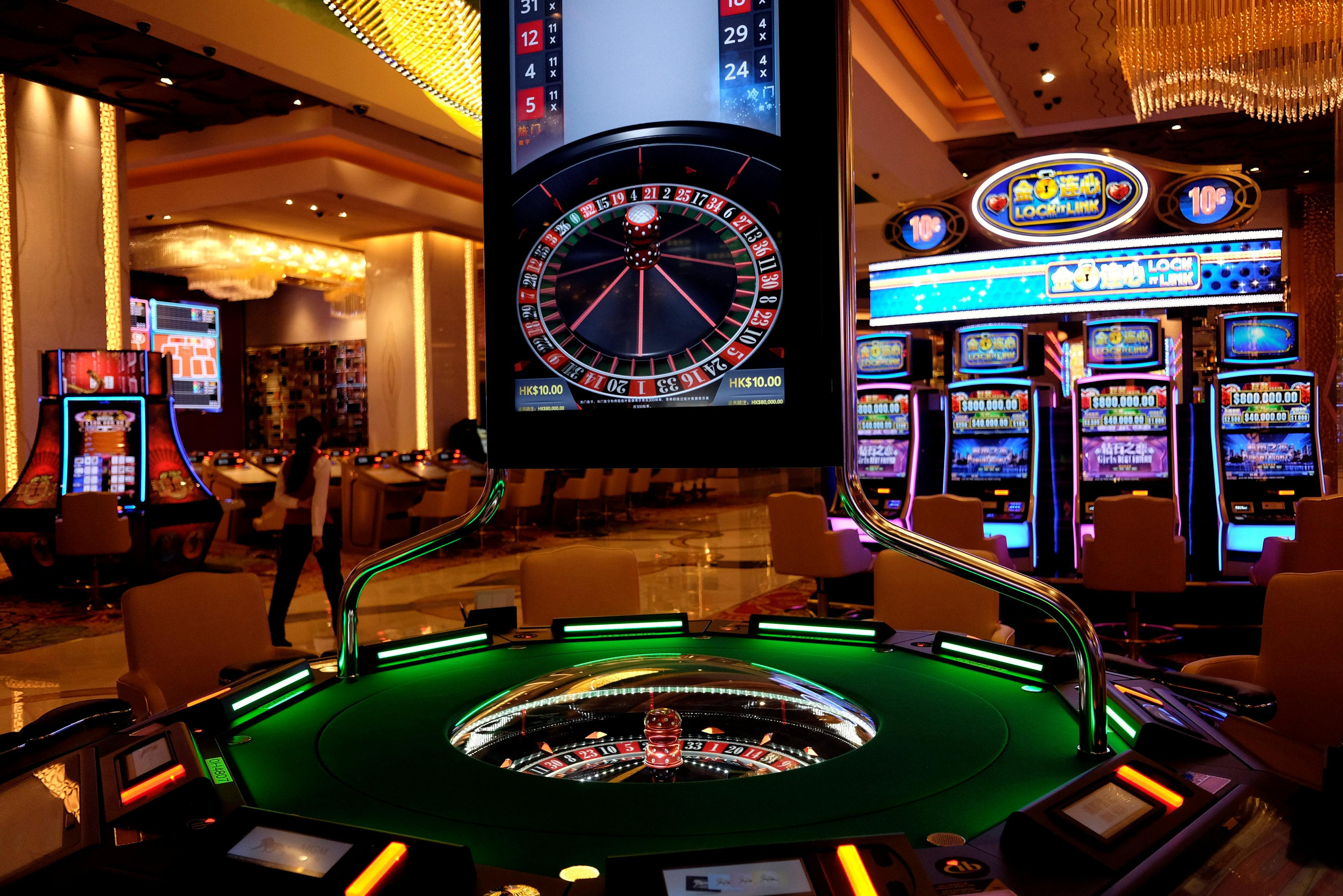 Gaming machines are seen at the casino of MGM Cotai in Macau, China February 13, 2018. Bobby Yip