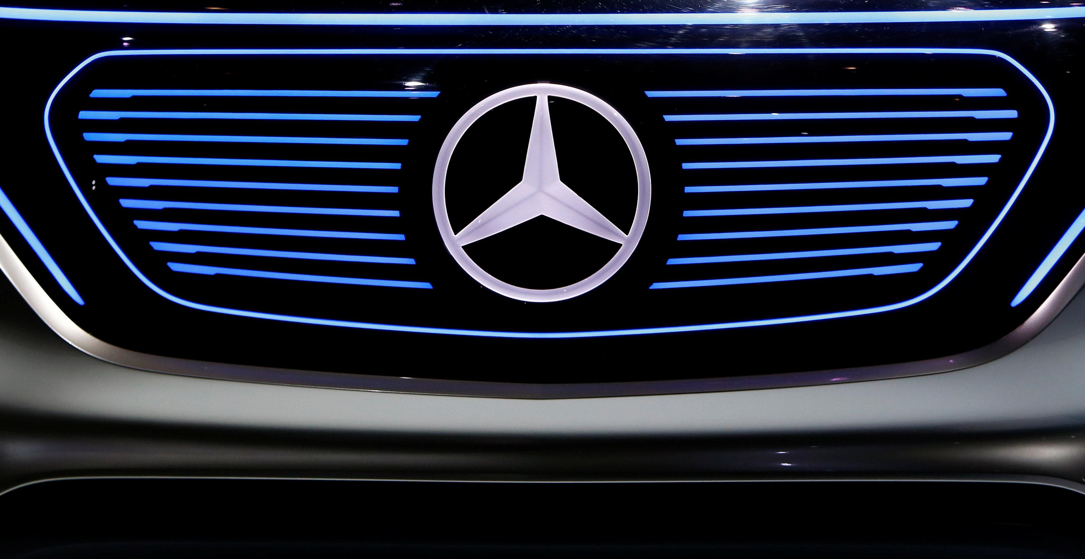 The Mercedes star logo of an EQ concept car is pictured before the annual news conference of Daimler AG in Stuttgart, Germany, February 2, 2017.   Michaela Rehle