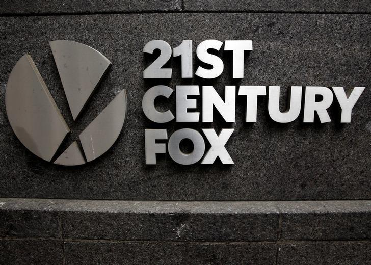 The 21st Century Fox  logo is seen outside the News Corporation headquarters in Manhattan, New York, U.S., April 29, 2016. Brendan McDermid