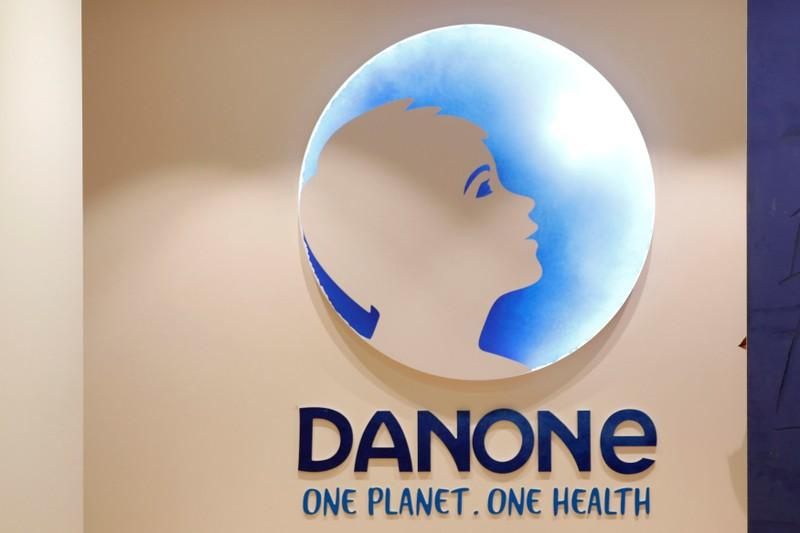 The logo of French food group Danone is seen at the company's headquarters in Paris, France, December 20, 2017.  Charles Platiau