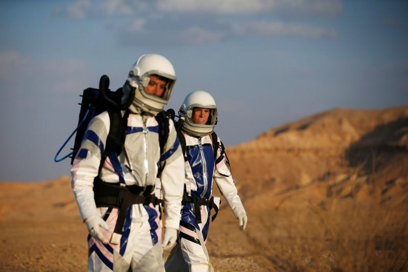 Israeli scientists participate in an experiment simulating a mission to Mars, at the D-MARS Desert Mars Analog Ramon Station project of Israel's Space Agency, Ministry of Science, near Mitzpe Ramon, Israel, February 18, 2018. Ronen Zvulun