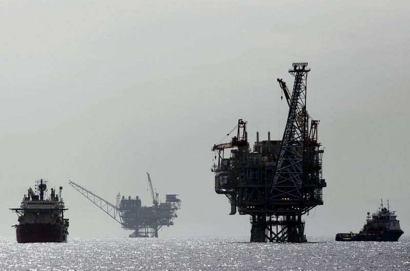 An Israeli gas platform, controlled by a U.S.-Israeli energy group, is seen in the Mediterranean sea, some 15 miles (24 km) west of Israel
