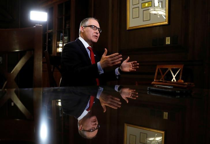 Environmental Protection Agency Administrator Scott Pruitt speaks during an interview with Reuters journalists in Washington, U.S., January 9, 2018.  Kevin Lamarque