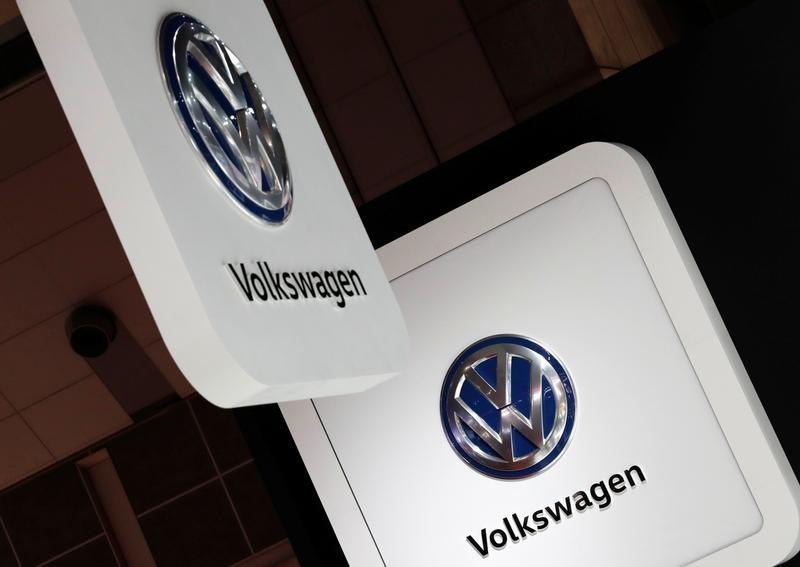 Volkswagen's logos are pictured at the 45th Tokyo Motor Show in Tokyo, Japan October 25, 2017. Kim Kyung-Hoon