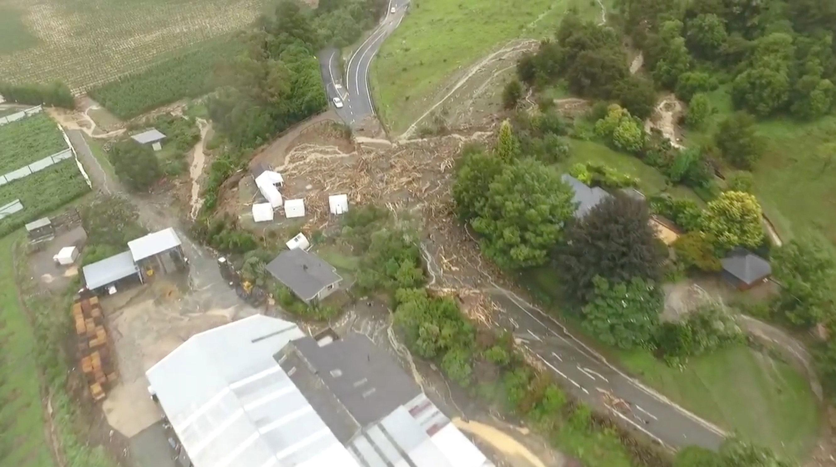 The Takaka Hill is pictured after the storm Gita hit New Zealand, in this still image taken from a drone footage from February 20, 2018 obtained from social media. James Thomas via