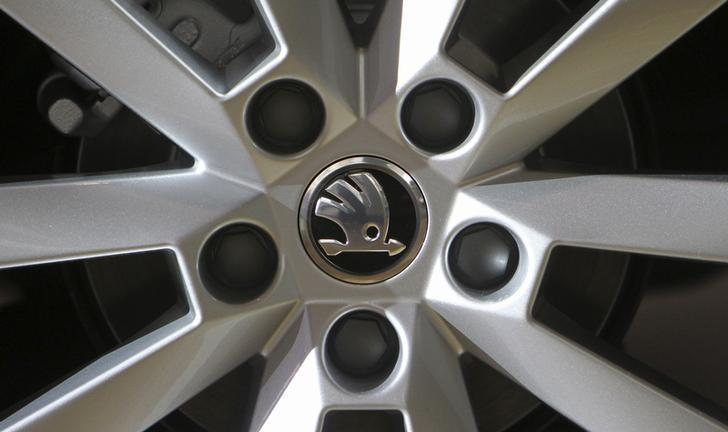 A logo is seen on a wheel of a Skoda Octavia car after a presentation of the company's annual results in Mlada Boleslav March 20, 2013. David W Cerny