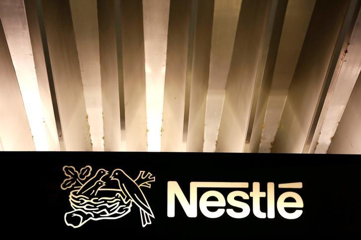 The Nestle logo is pictured on the company headquarters entrance building in Vevey, Switzerland February 18, 2016. Pierre Albouy