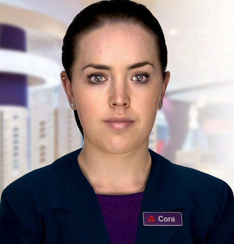 "RBS unveil their ""digital human"" Cora in this digital illustration who will be used to answer customers"