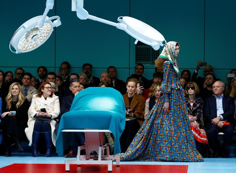 A model presents a creation from the Gucci Autumn/Winter 2018 women collection during Milan Fashion Week in Milan, Italy February 21, 2018. Tony Gentile
