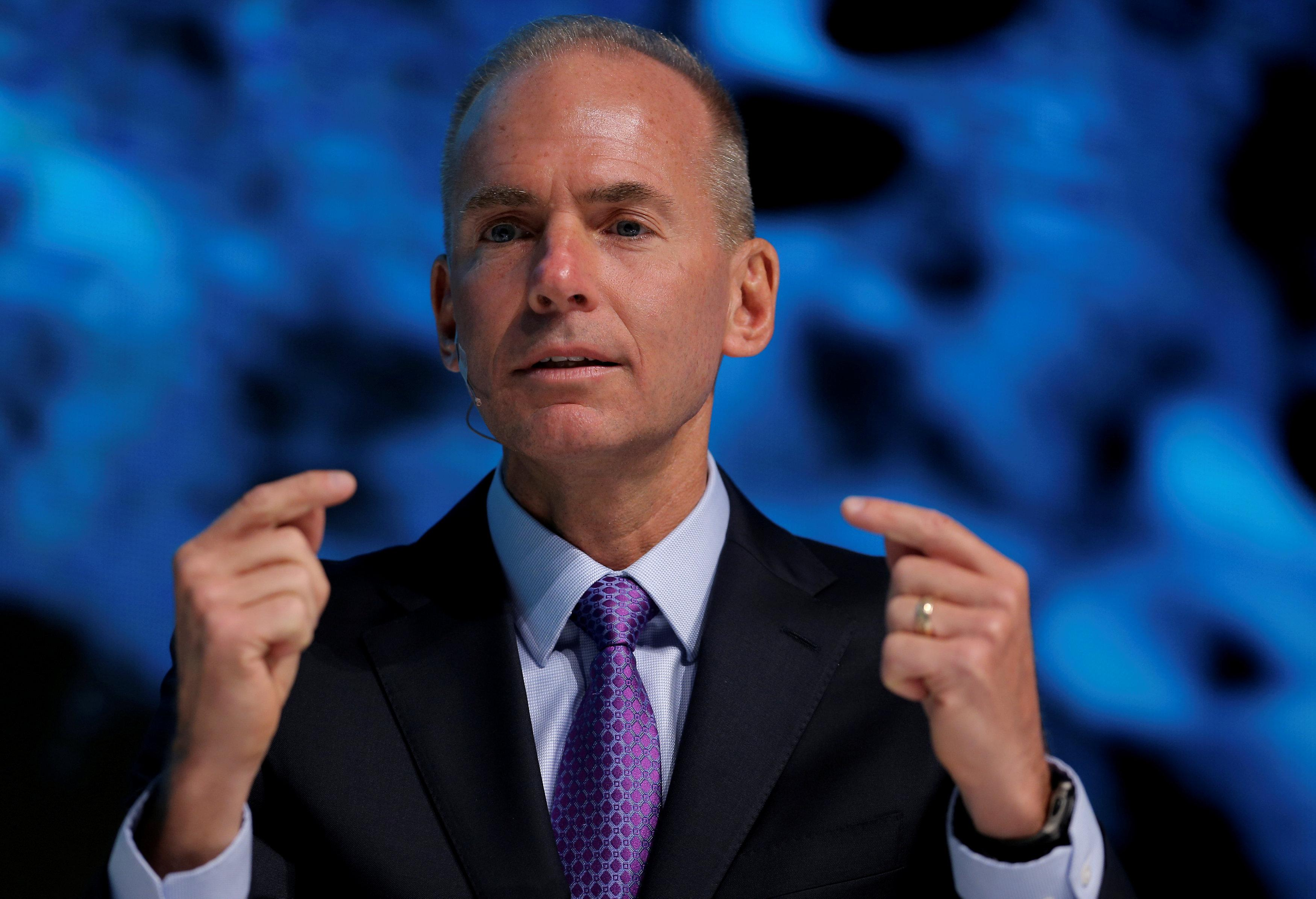 President, Chairman and CEO of The Boeing Company Dennis Muilenburg speaks at the