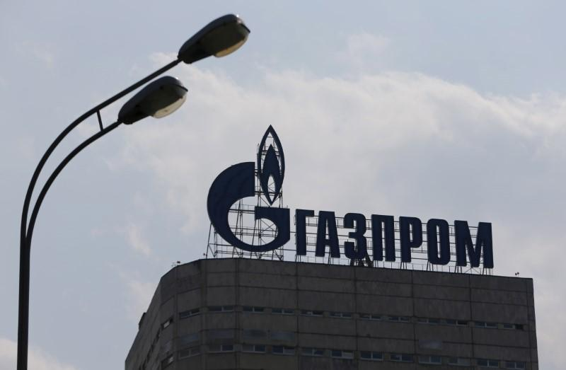 A view shows the company logo of Gazprom company installed on the roof of its office building in Moscow, August 10, 2015. Maxim Shemetov
