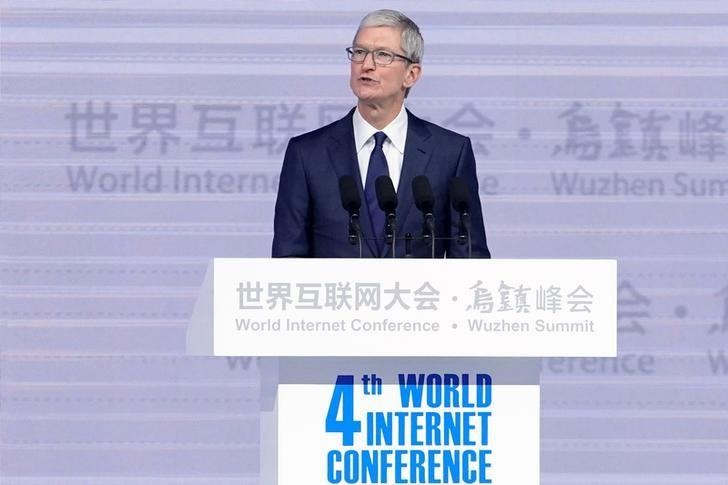 Apple CEO Tim Cook attends the opening ceremony of the fourth World Internet Conference in Wuzhen, Zhejiang province, China, December 3, 2017. Aly Song