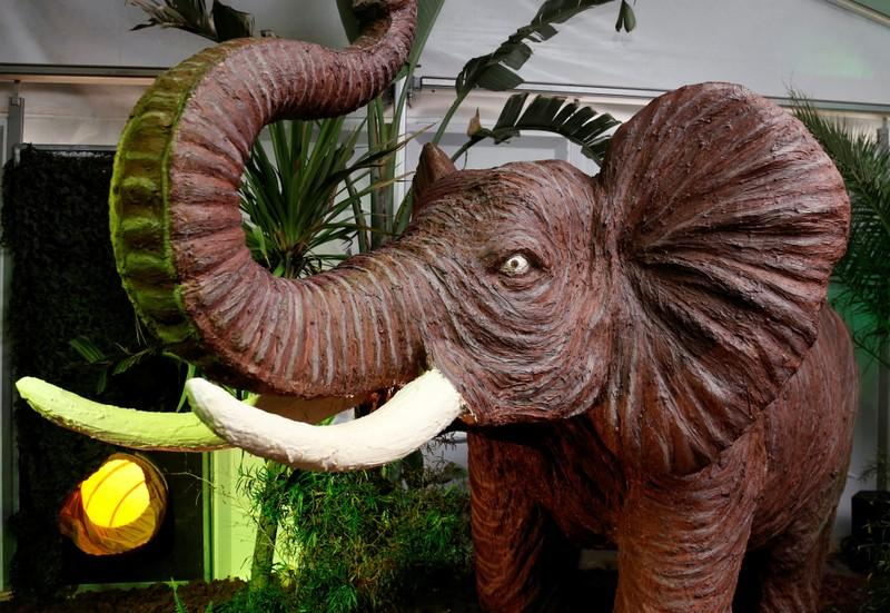 A chocolate sculpture of an elephant is seen during the chocolate sculpture festival in Durbuy, Belgium March 29, 2018. Francois Lenoir