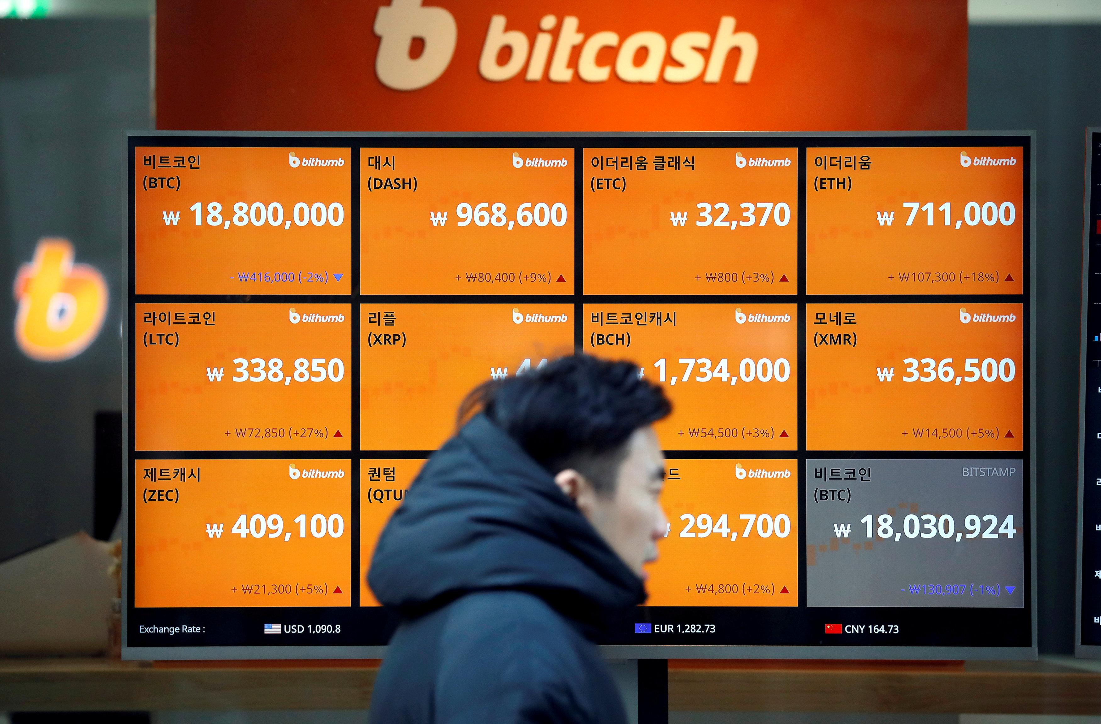 A man walks past an electric board showing exchange rates of various cryptocurrencies including Bitcoin (top L) at a cryptocurrencies exchange in Seoul, South Korea December 13, 2017.  Kim Hong-Ji