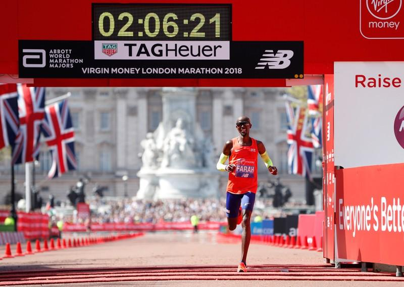 Athletics - London Marathon - London, Britain - April 22, 2018   Britain's Mo Farah finishes third in the men's elite race   Paul Childs