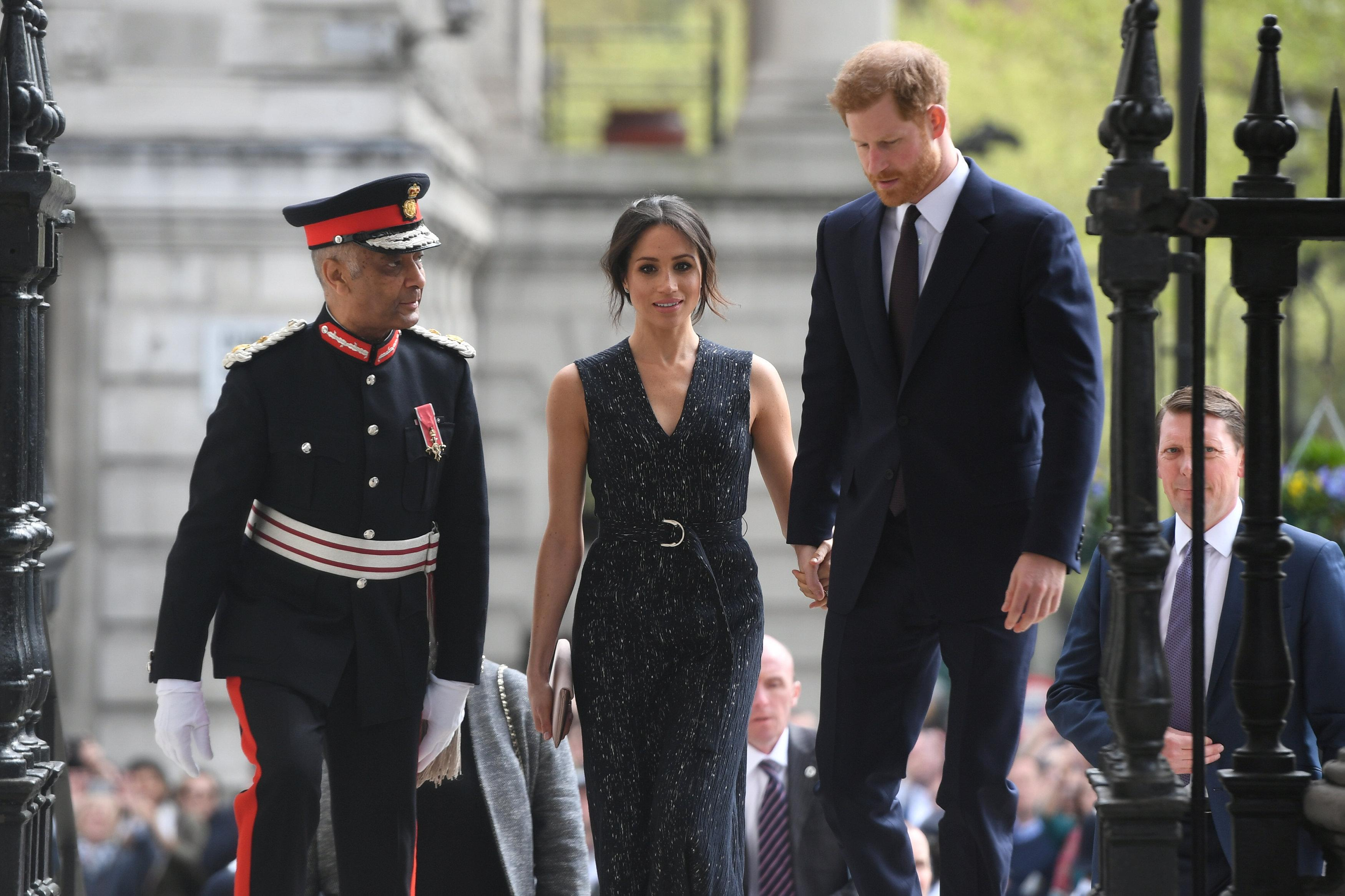 Britain's Prince Harry and his fiancee Meghan Markle arrive at a service at St Martin-in-The Fields to mark 25 years since Stephen Lawrence was killed in a racially motivated attack, in London, Britain, April 23, 2018. Victoria Jones/Pool via Reuters