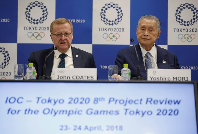 International Olympic Committee (IOC) Vice President John Coates and President of Tokyo 2020 Olympic and Paralympic organising committee Yoshiro Mori attend their news conference following Project Review Meeting in Tokyo, Japan, April 24, 2018. Toru Hanai