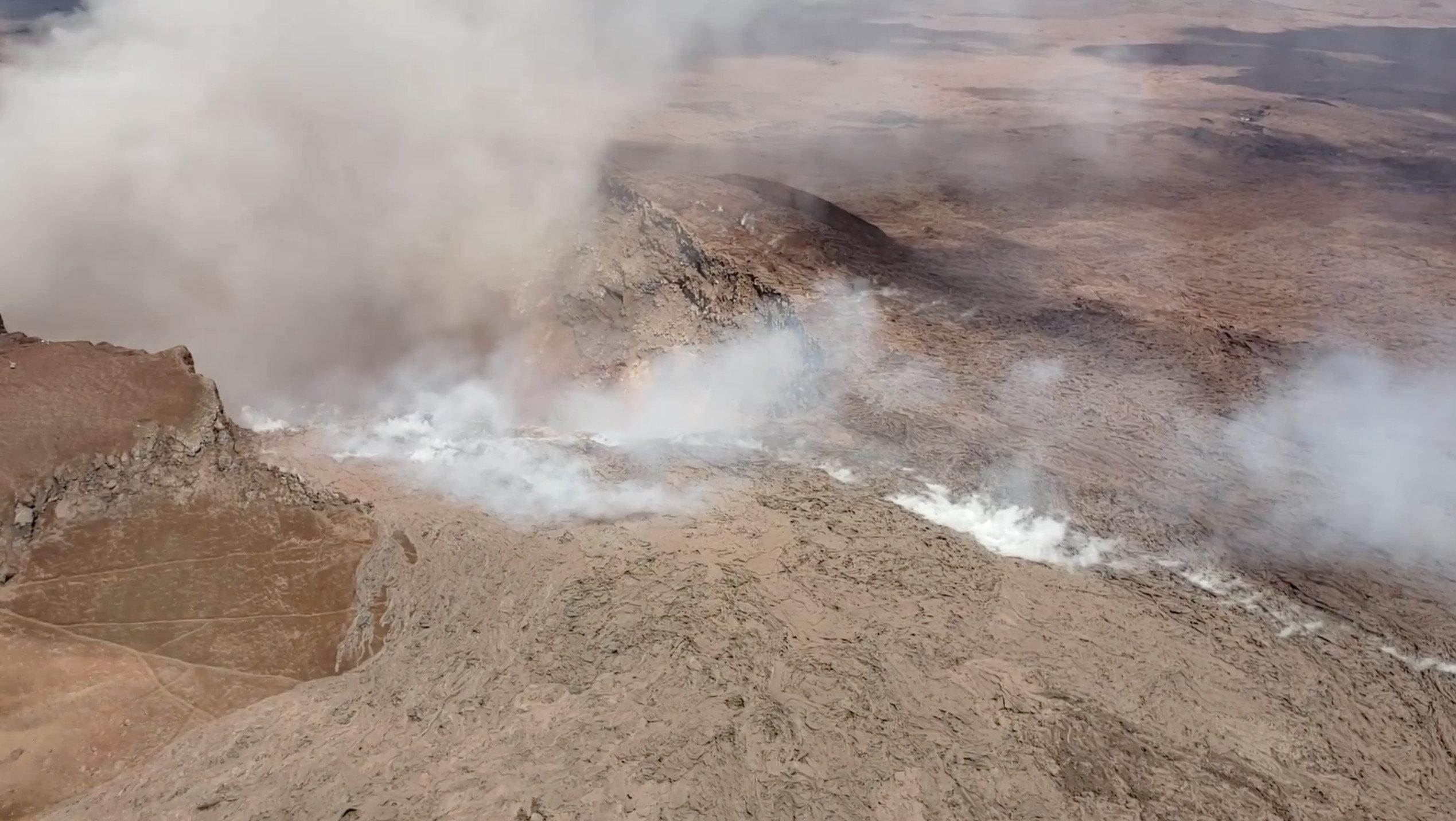 The Kilauea Volcano is seen in this aerial image in Puna, Hawaii, U.S., May 2, 2018, in this still image taken from video obtained from social media on May 4, 2018. JOHN ANDERSON/via