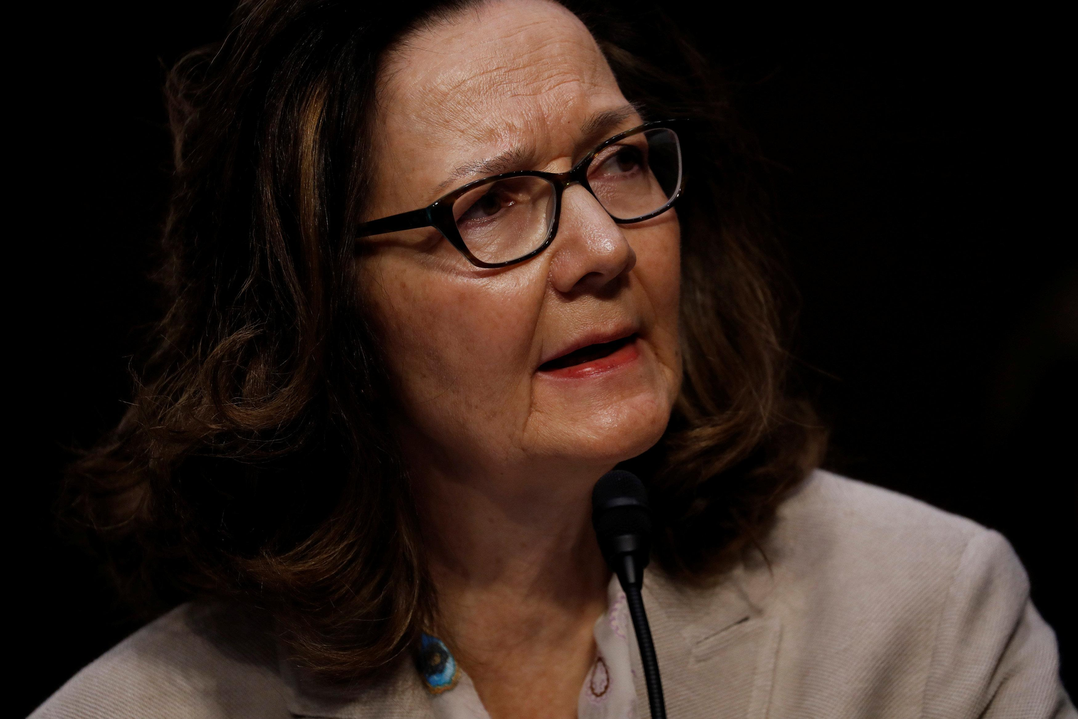 CIA Director nominee Gina Haspel testifies at her confirmation hearing before the Senate Intelligence Committee on Capitol Hill in Washington, U.S., May 9, 2018.  Aaron P. Bernstein