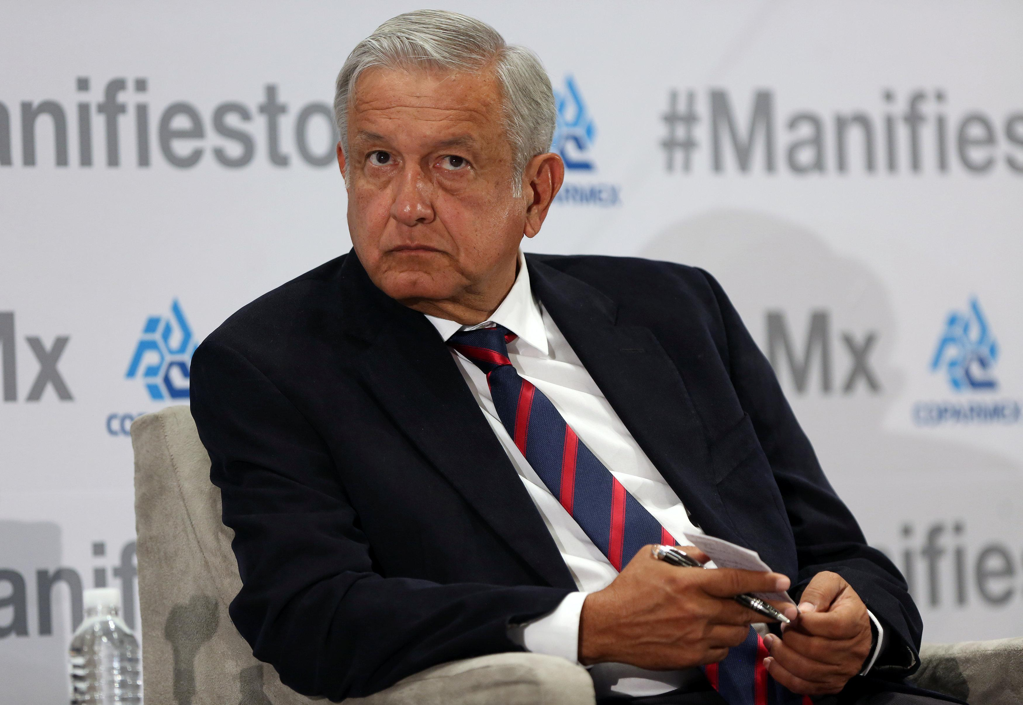 Leftist front-runner Andres Manuel Lopez Obrador of the National Regeneration Movement (MORENA) attends an event organised by Mexican Employers