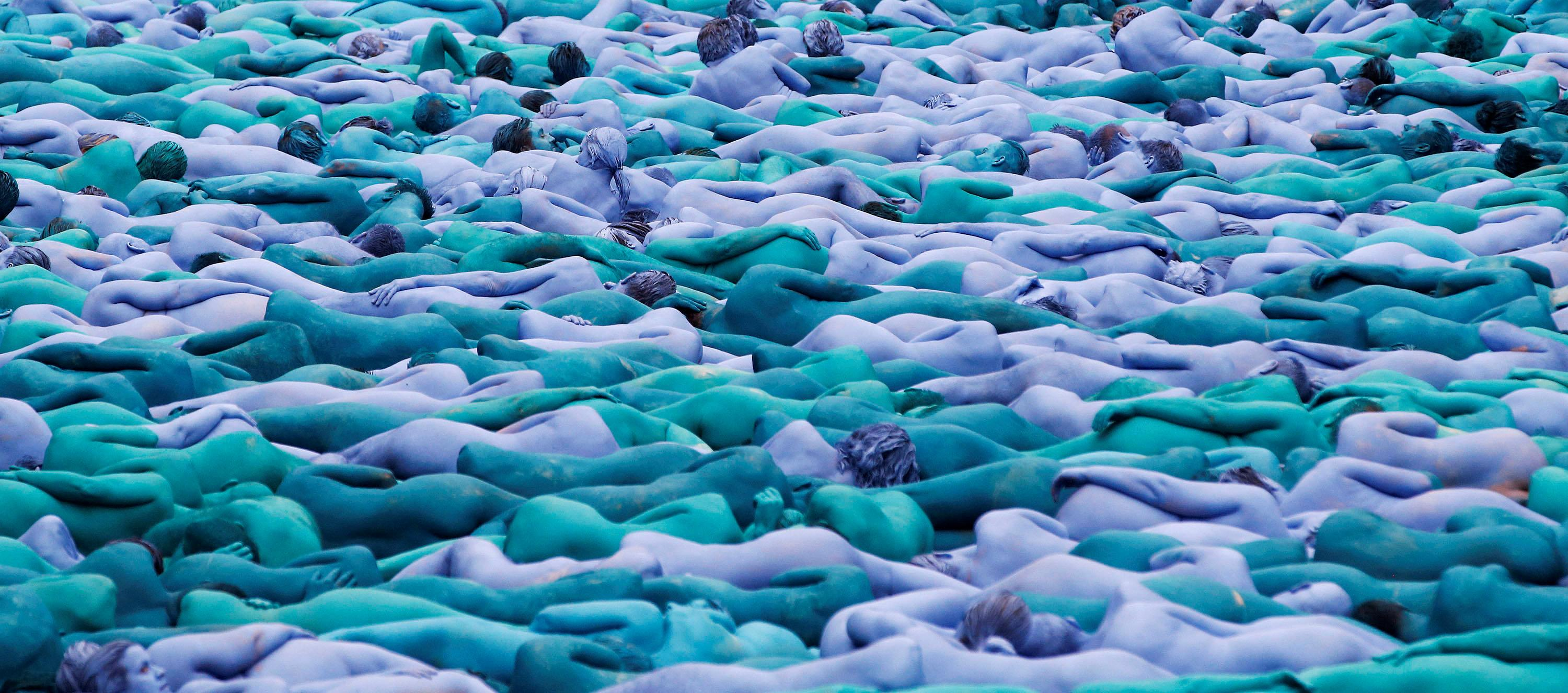 "Nude models pose for a photograph by U.S. artist Spencer Tunick, for a project titled ""Sea of Hull"" in Hull city centre, northern England, July 9, 2016.   Andrew Yates"