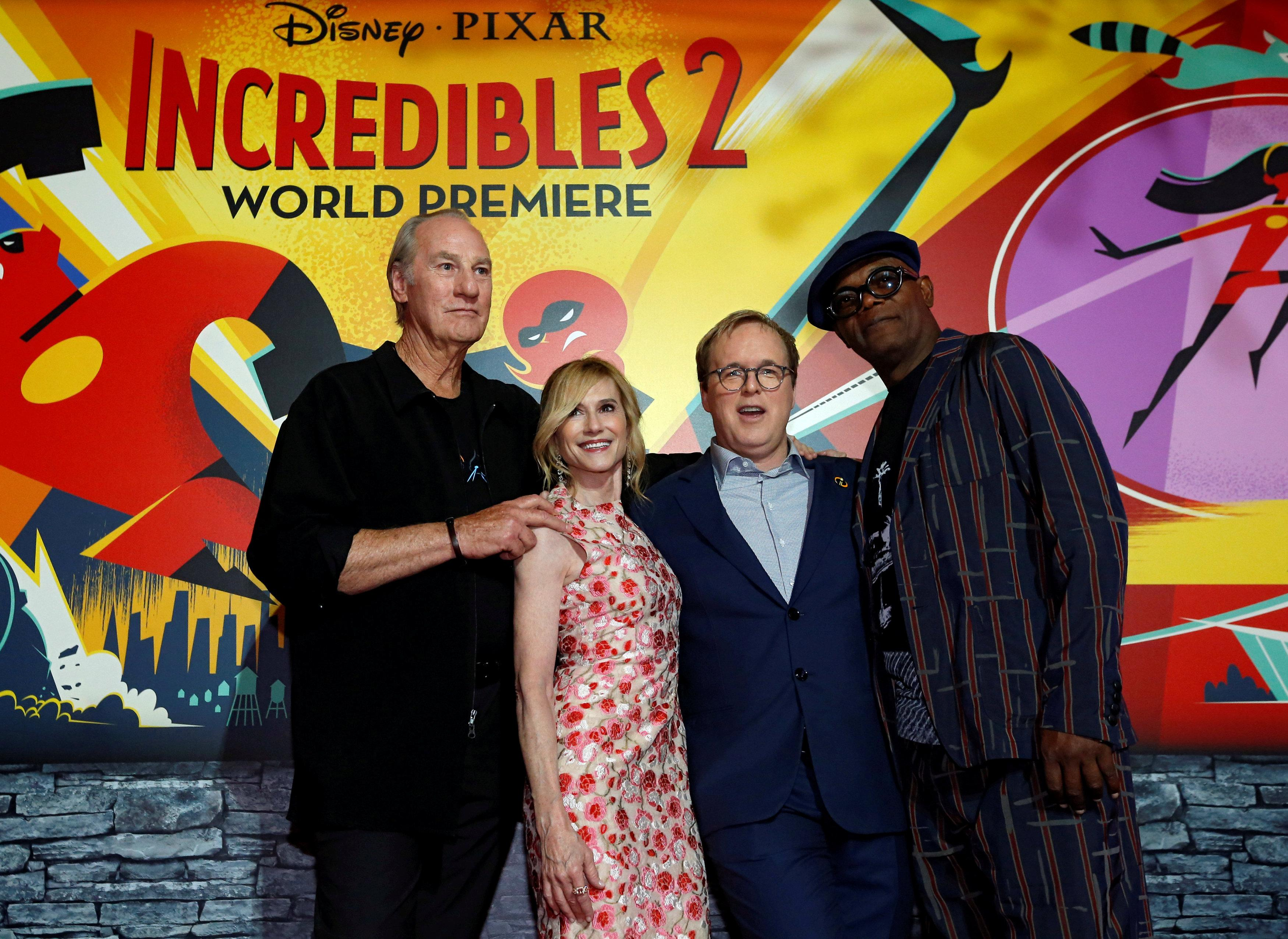 Actor and director Brad Bird, and actors Craig T. Nelson, Holly Hunter and Samuel L. Jackson pose at the premiere for the movie