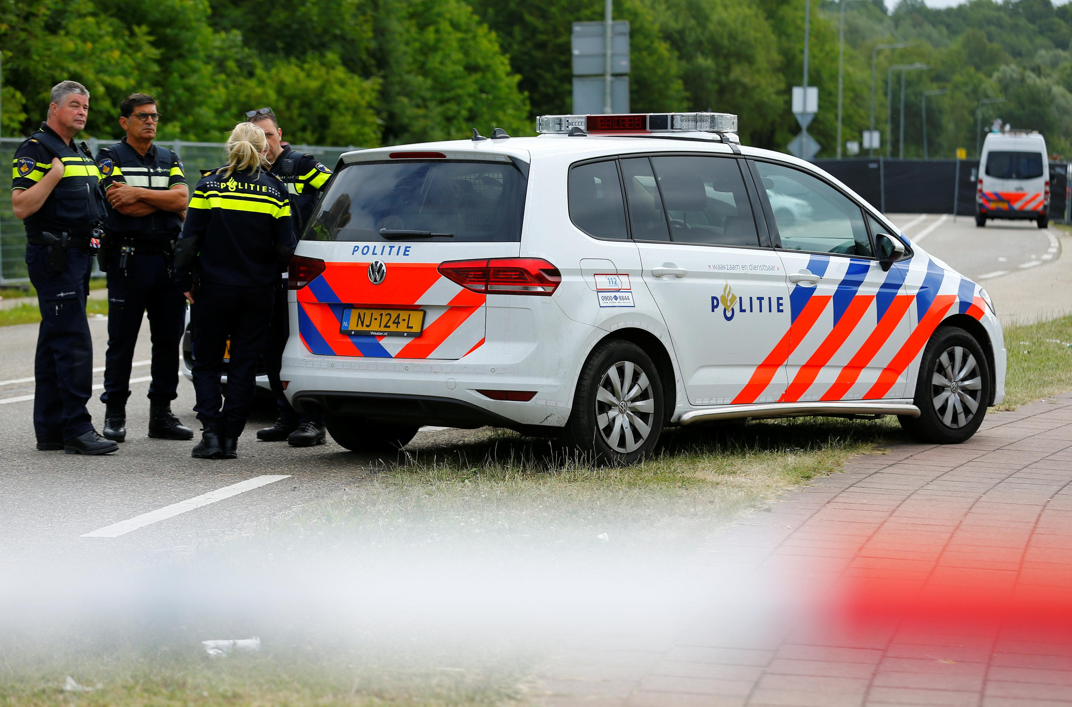 Police is seen near an incident scene where a van struck into people after a concert in Landgraaf, the Netherlands June 18, 2018. Thilo Schmuelgen