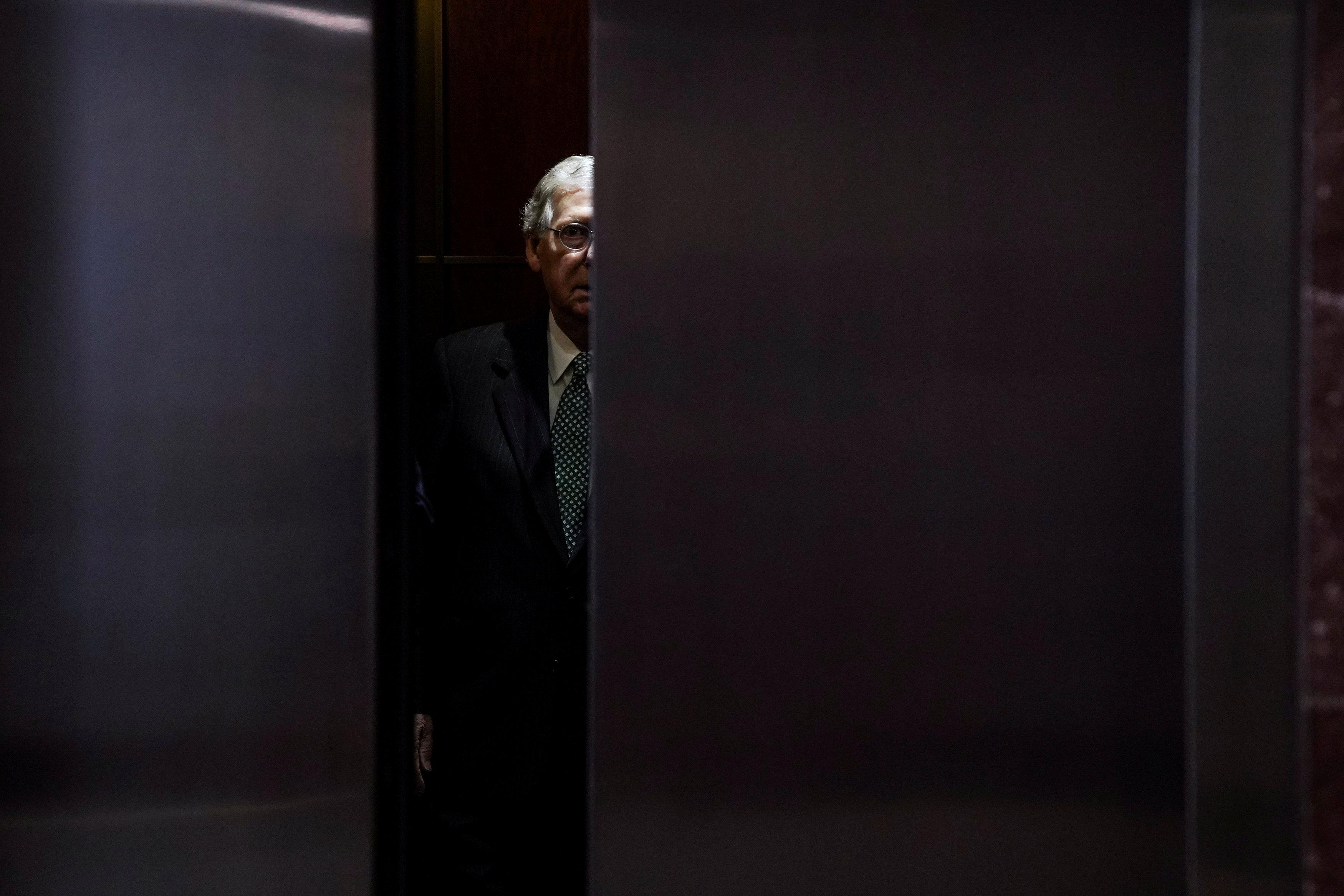 "U.S. Senate Majority Leader Mitch McConnell arrives for the so-called ""Gang of Eight"" classified briefing on Capitol Hill in Washington, U.S., June 14, 2018. Toya Sarno Jordan"