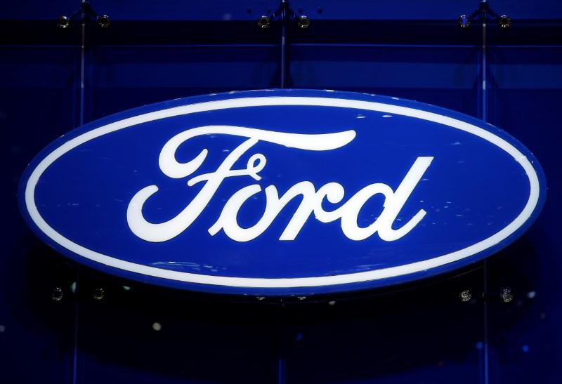 The Ford logo is pictured on the company's stand during the 88th Geneva International Motor Show in Geneva, Switzerland, March 7, 2018. Denis Balibouse