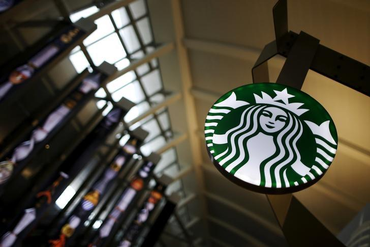 A Starbucks store is seen inside the Tom Bradley terminal at LAX airport in Los Angeles, California, U.S. on October 27, 2015.   Lucy Nicholson