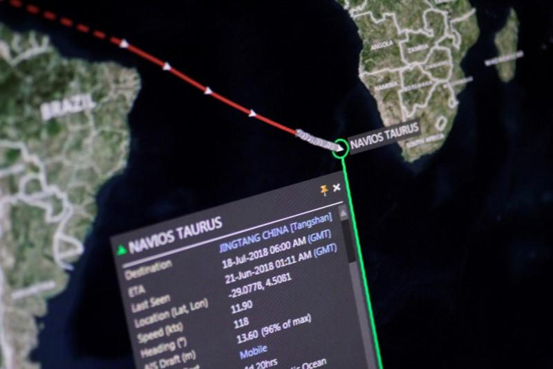 The coal bulk ship Navios Taurus is seen en route to China in this illustration photo of an Eikon ship-tracking screen June 21, 2018.      Thomas White/Illustration