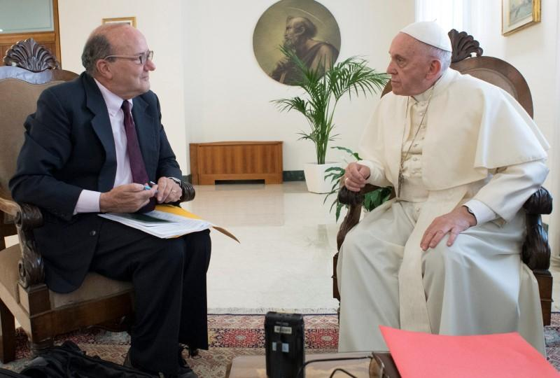 Pope Francis talks during an exclusive interview with Reuters at the Vatican June 17, 2018.  Vatican Media/Handout via