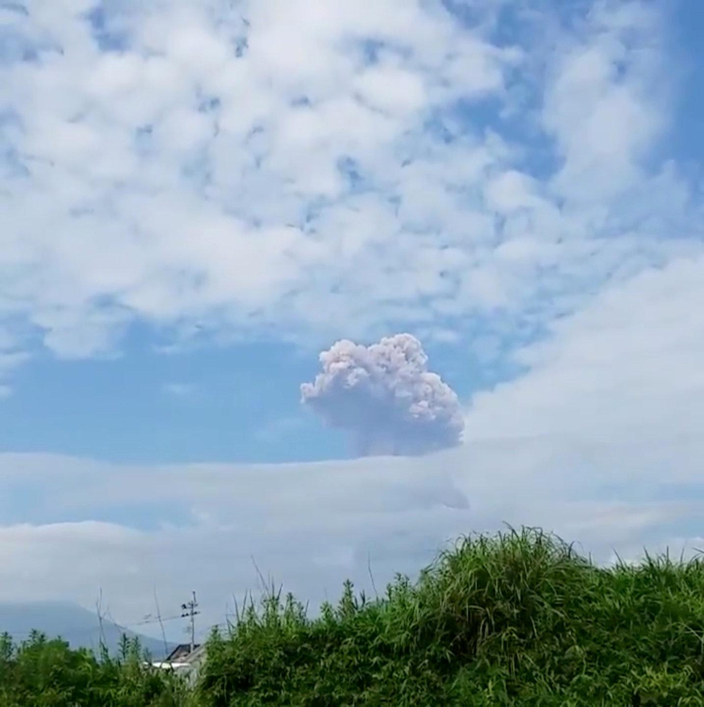 Smoke rises from a volcano in Shinmoedake, Japan, June 22, 2018 in this picture obtained from social media.  Yamayuu/via