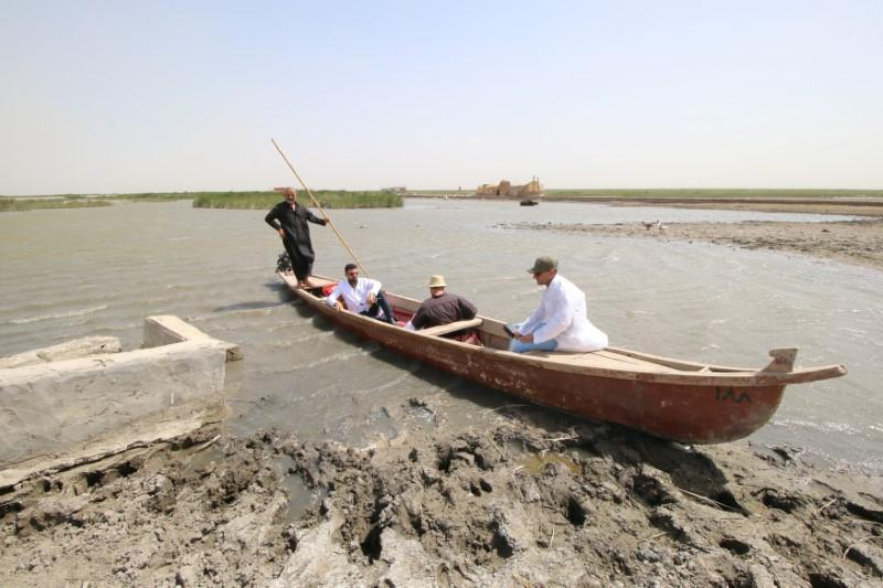 Veterinary doctors ride on a boat in Iraq's Chibayish Marshes in Nassiriya, Iraq, June 26, 2018. Picture taken June 26, 2018. Essam Al-Sudani