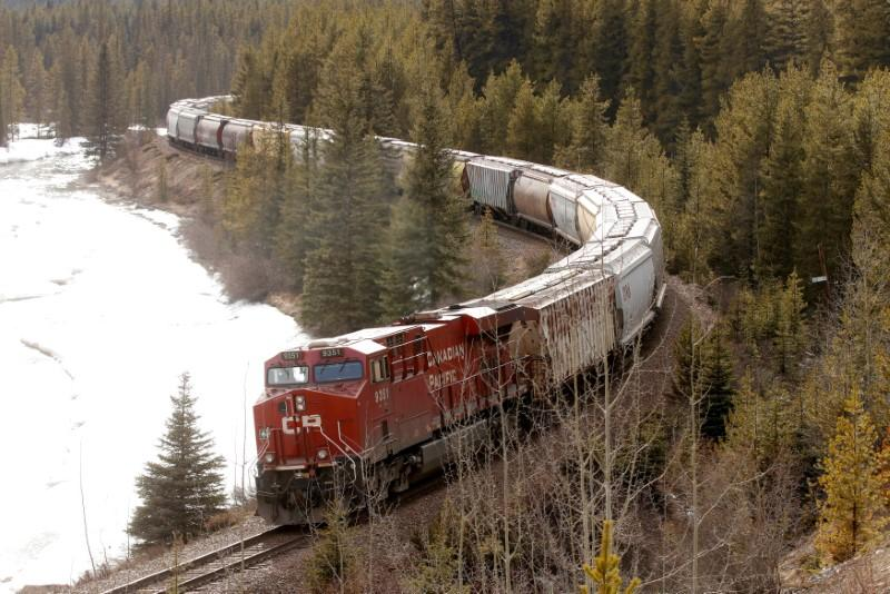 A CP Rail train rolls through the rocky mountains of near Lake Louise, Alberta, April 28, 2017. Picture taken April 28, 2017. Todd Korol
