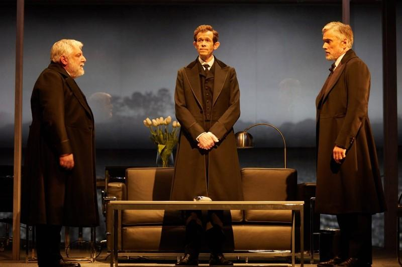Simon Russell Beale, Adam Godley and Ben Miles in The Lehman Trilogy at the National Theatre. Photo by Mark Douet. Image courtesy of the National Theatre.