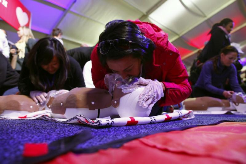 People learn CPR as part of a National Day of Service event on the National Mall in Washington D.C. January 19, 2013. Eric Thayer