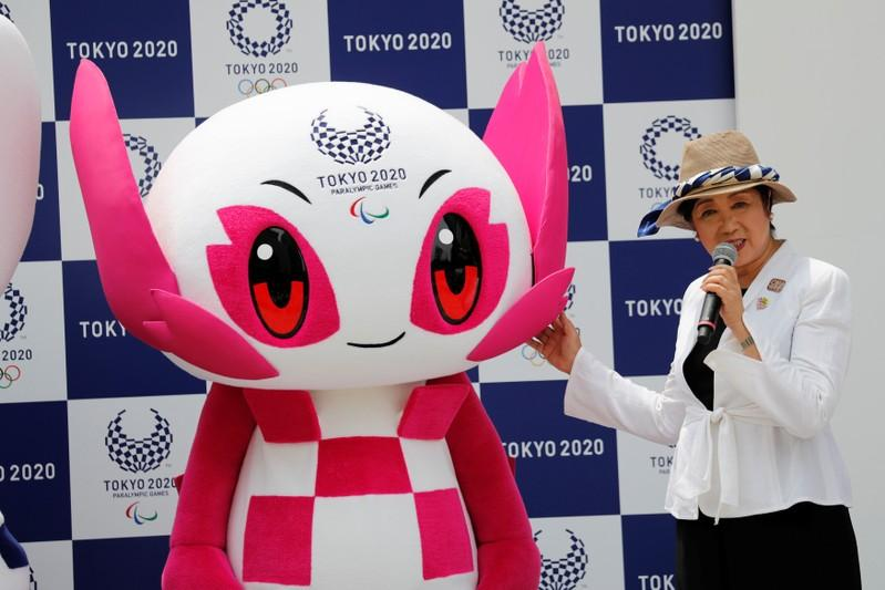 Tokyo Governor Yuriko Koike speaks next to Tokyo 2020 Paralympic mascot Someity during the mascots' debut in Tokyo, Japan, July 22, 2018. Kim Kyung-Hoon