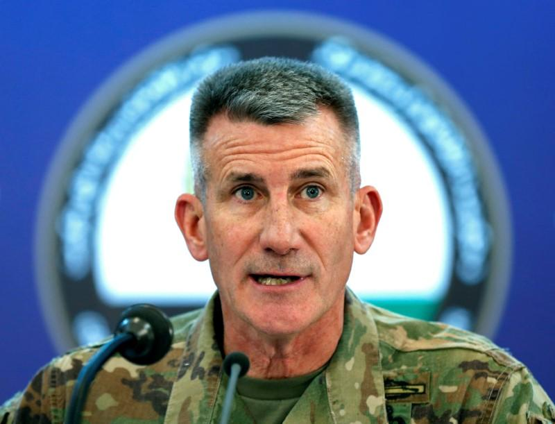 U.S. Army General John Nicholson, Commander of Resolute Support forces and U.S. forces in Afghanistan, speaks during a news conference in Kabul, Afghanistan November 20, 2017. Mohammad Ismail