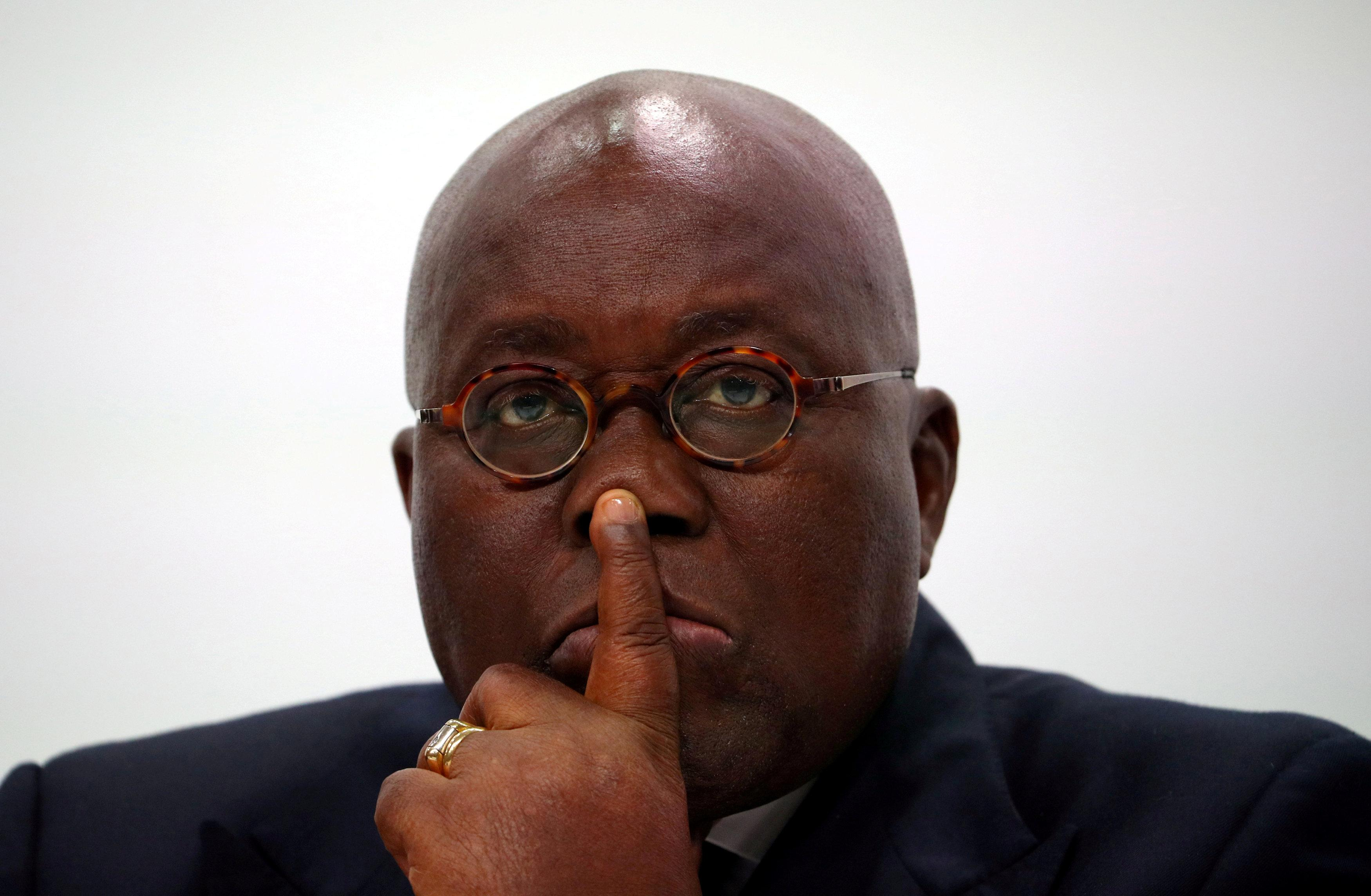 Ghana's President Nana Addo Dankwa Akufo-Addo listens during a news conference to mark the end of the Commonwealth Heads of Government Meeting at Marlborough House in London, Britain, April 20, 2018. Hannah McKay