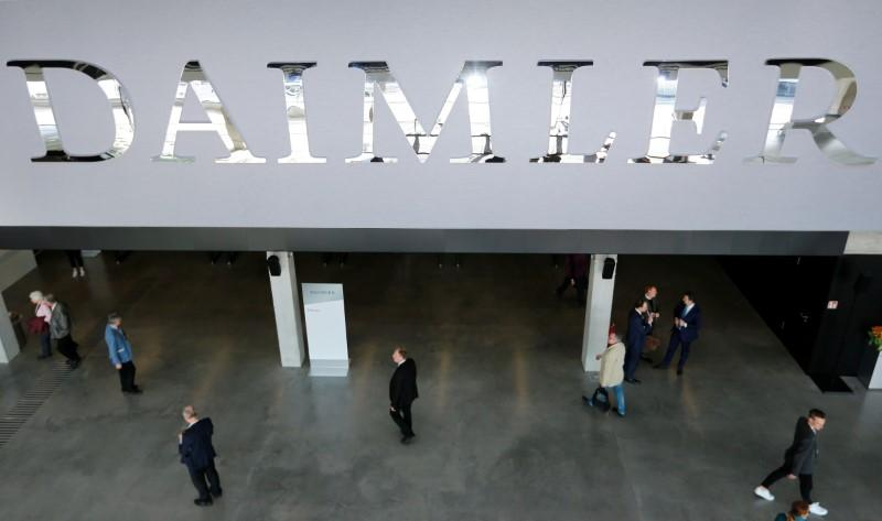 The Daimler logo is seen before the Daimler annual shareholder meeting in Berlin, Germany, April 5, 2018. Hannibal Hanschke