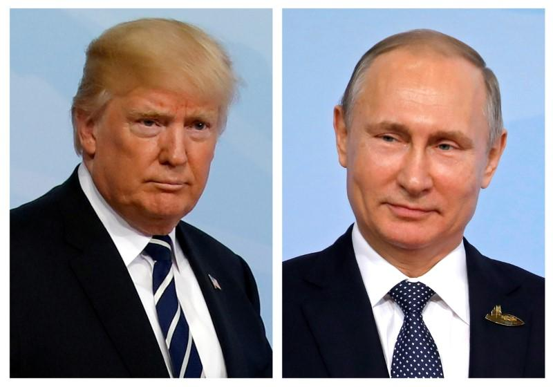 A combination of two photos shows U.S. President Donald Trump and Russian President Vladimir Putin as they arrive for the G20 leaders summit in Hamburg, Germany, July 7, 2017. Carlos Barria