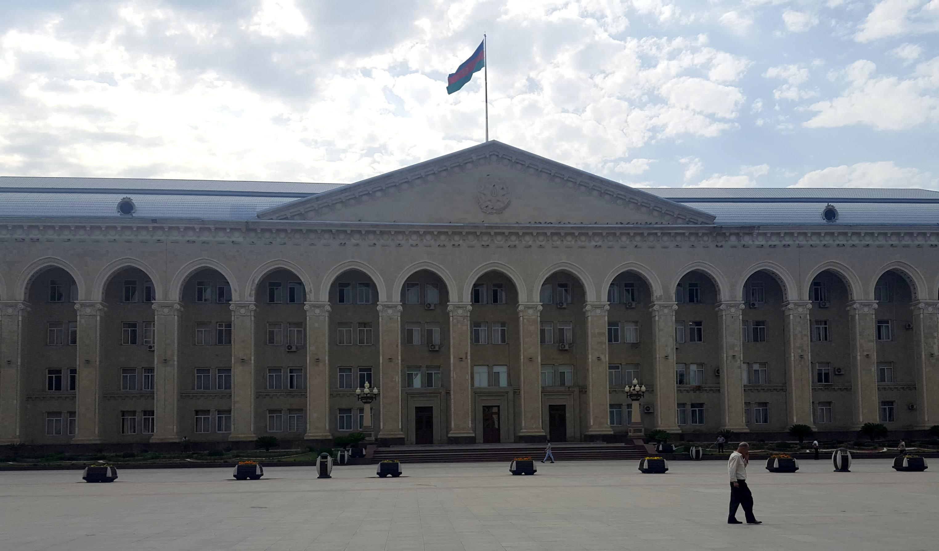 A municipal building is seen at the main square in Ganja, Azerbaijan, July 12, 2018.  Staff