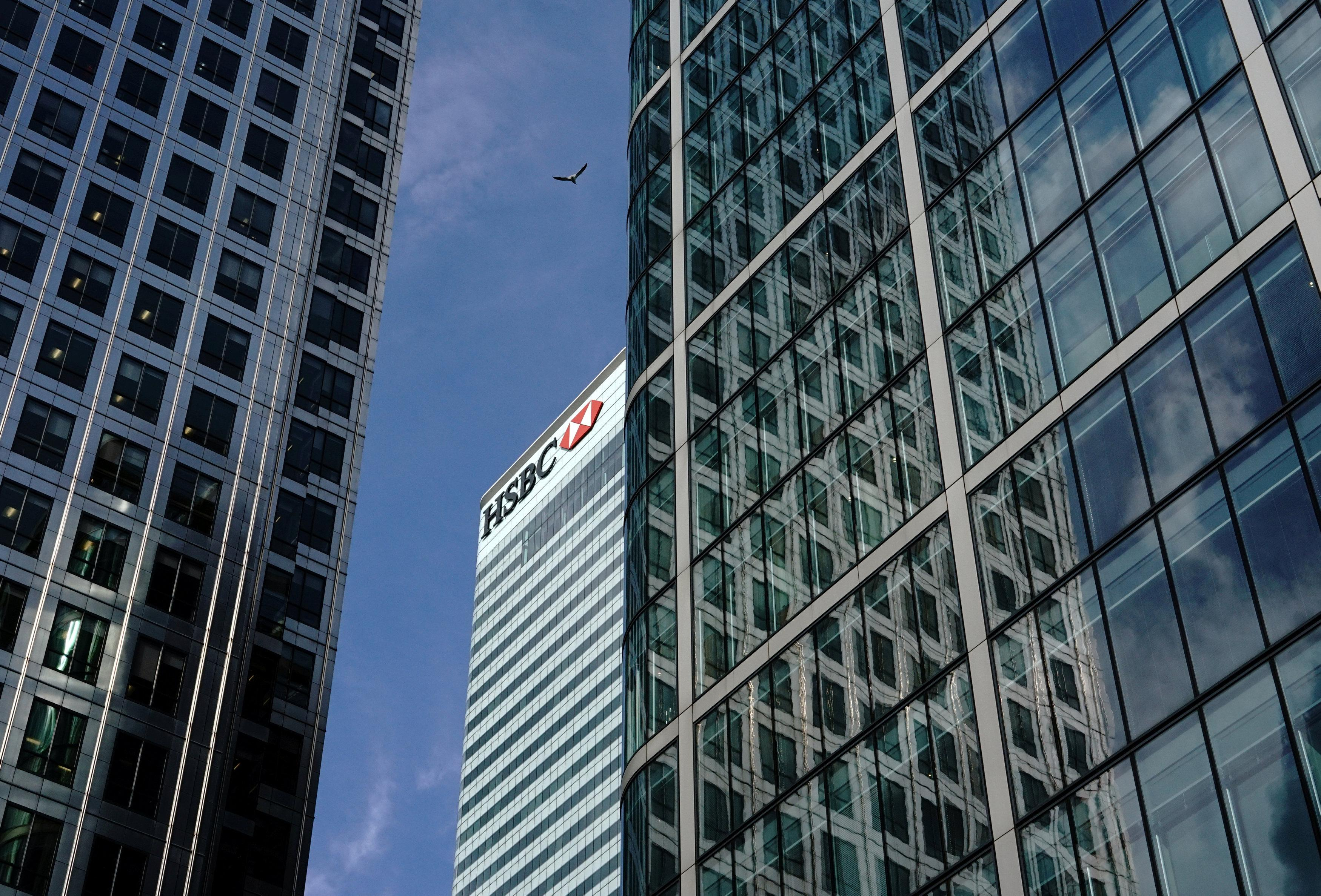 The HSBC bank is seen in the financial district of Canary Wharf in London, Britain, July 13, 2017.  Kevin Coombs
