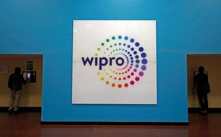 The logo of Wipro is seen inside the company