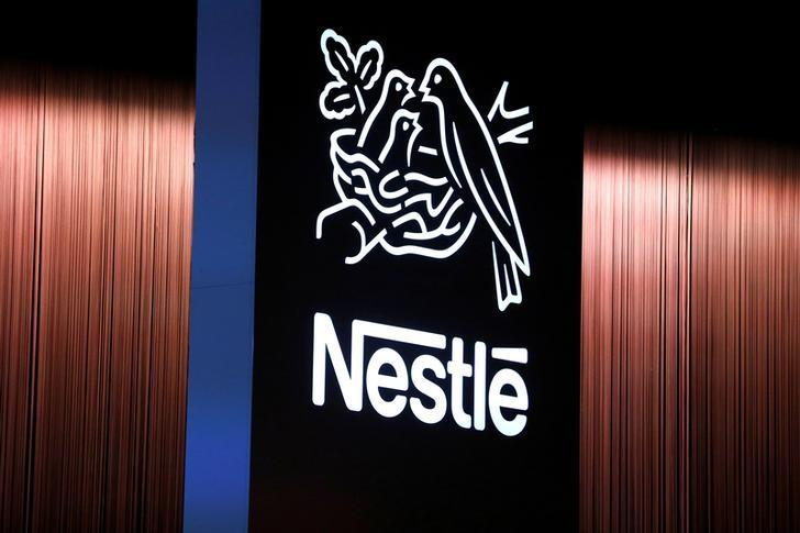 The Nestle logo is seen during the opening of the 151st Annual General Meeting of Nestle in Lausanne, Switzerland April 12, 2018. Pierre Albouy