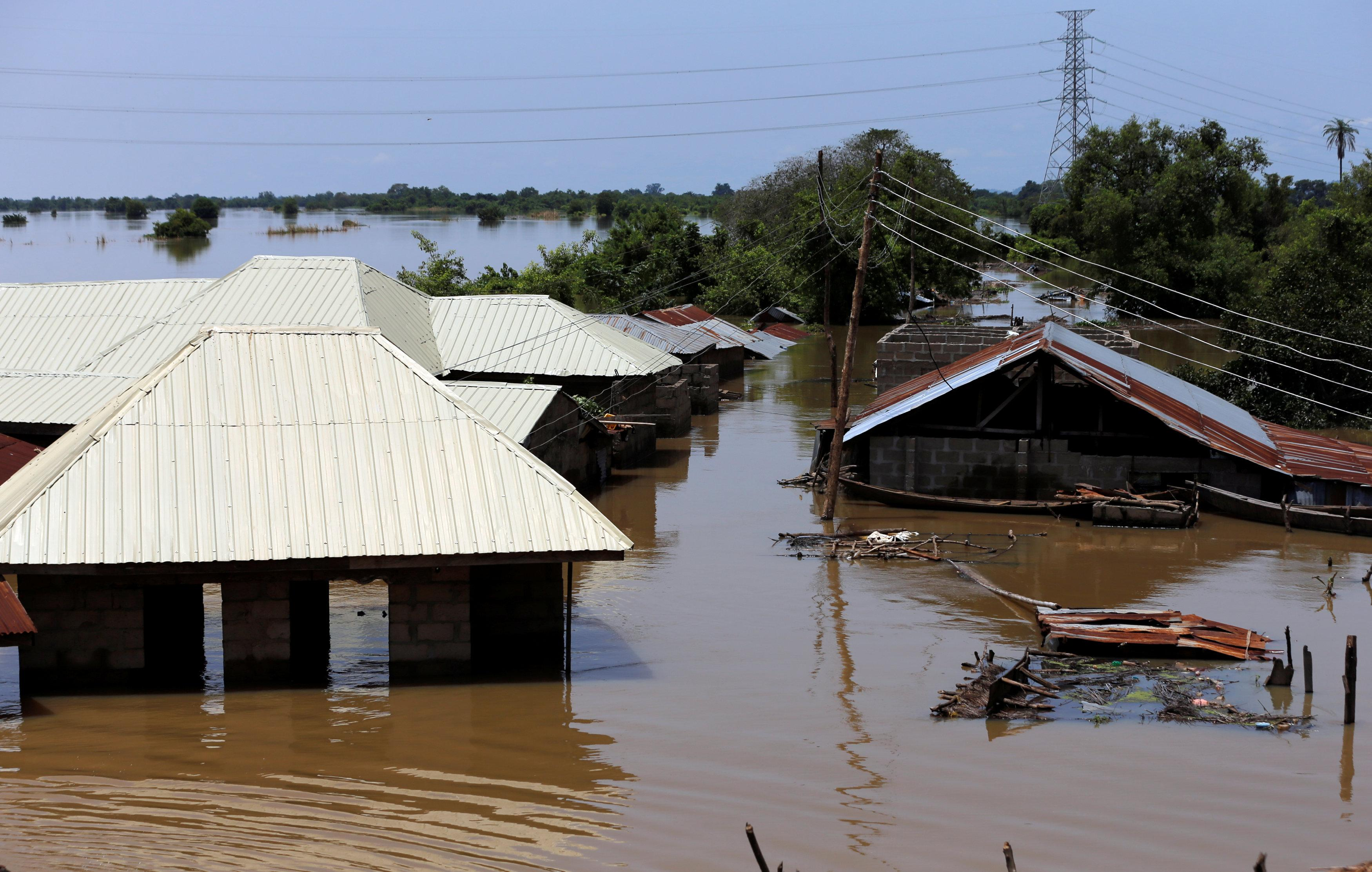 Houses partially submerged in flood waters are pictured  in Lokoja city, Kogi State, Nigeria September 17, 2018. Afolabi Sotunde