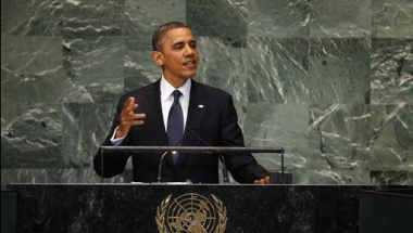 U.S. President Barack Obama addresses the 67th United Nations General Assembly at the U.N. headquarters in New York, September 25, 2012. REUTERS/Mike Segar