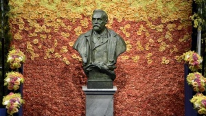 FILE PHOTO: A bust of Swedish industrialist and armaments manufacturer Alfred Nobel is seen on the stage of Stockholm Concert Hall