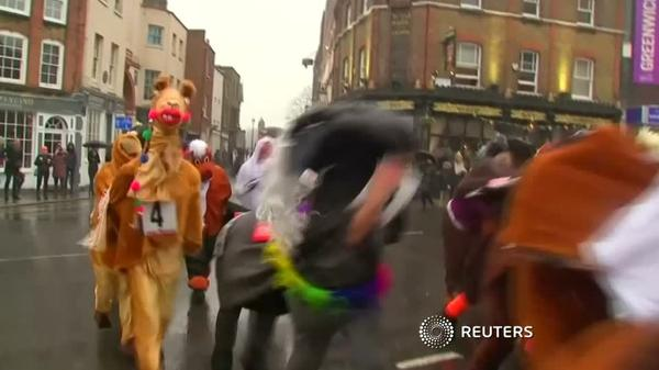 Pantomime horse race brings daft touch to grim London streets